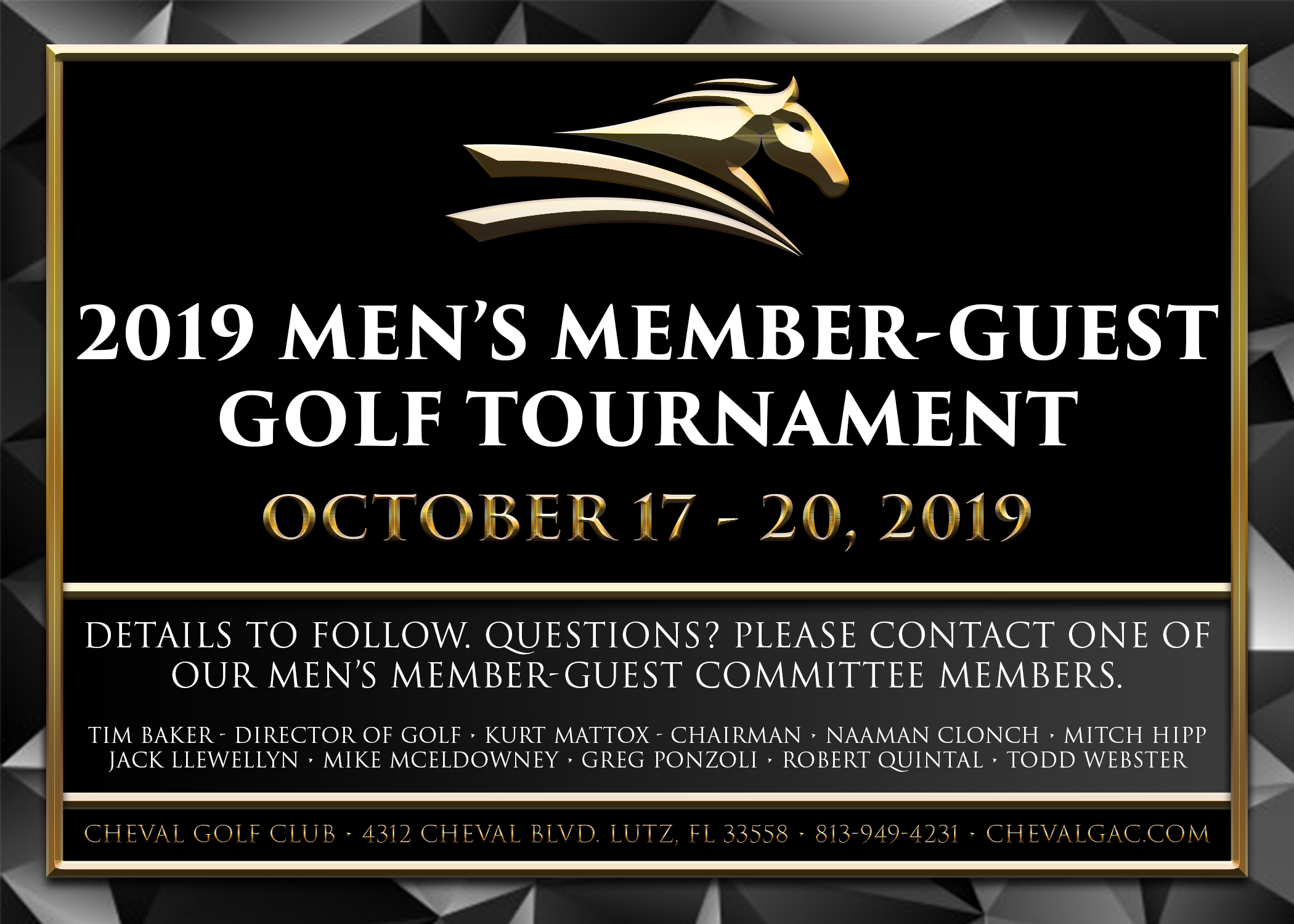 2019 Men's Member Guest Golf Tournament Cheval Golf