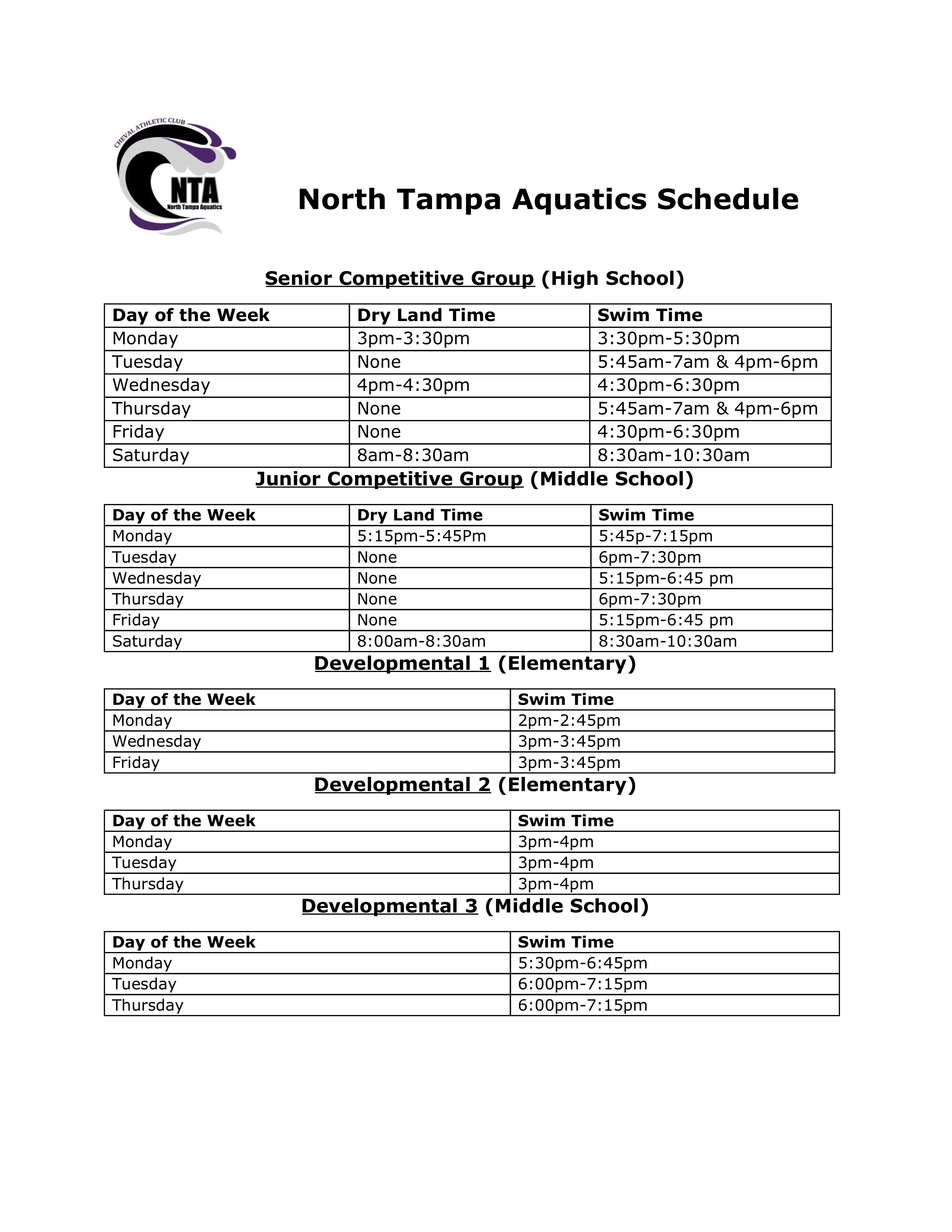 North Tampa Aquatics, Swim Tampa, Cheval Aquatics